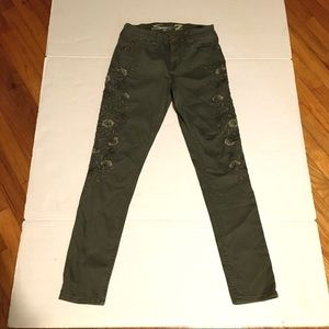 Seven7 Floral Army Green Skinny Jeans